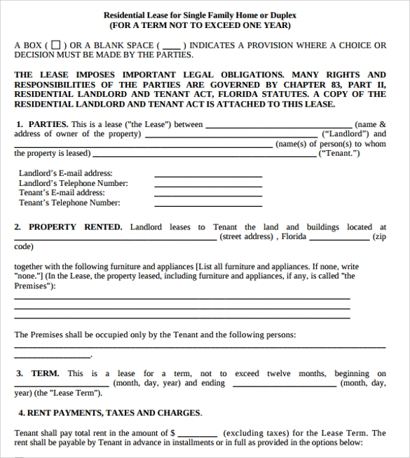 Residential Lease Nebraska Residential Lease Agreement Pdf Word