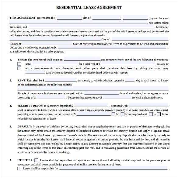 Residential Lease Agreements   Free Samples Examples  Formats
