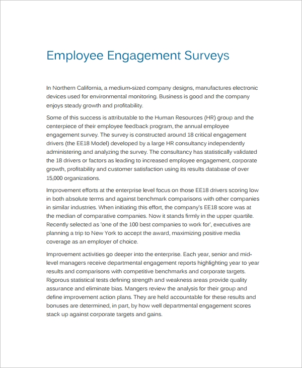 Sample Employment Engagement Survey   Documents In Pdf