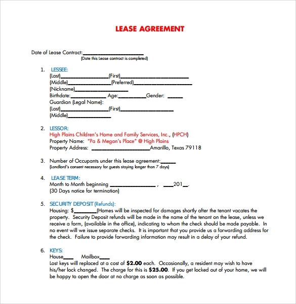 free lease agreement templates 8 download free documents in pdf word