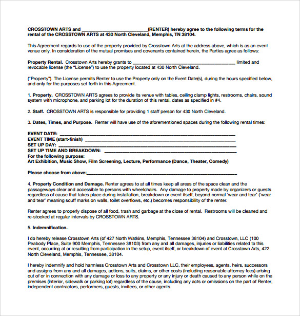 Sample Generic Rental Agreement   Documents In Pdf Word