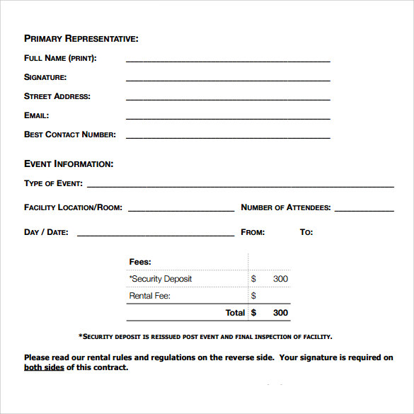 Blank Rental Agreement   Free Samples Examples  Formats
