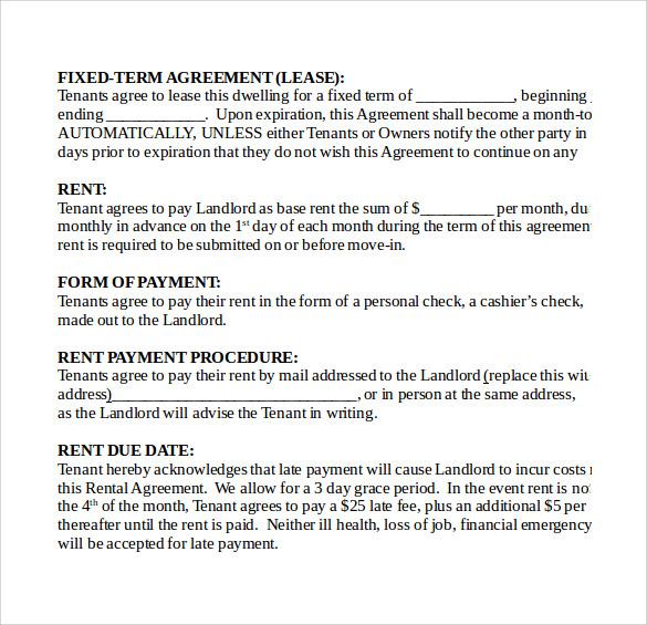 8 Sample Basic Rental Agreements Sample Templates