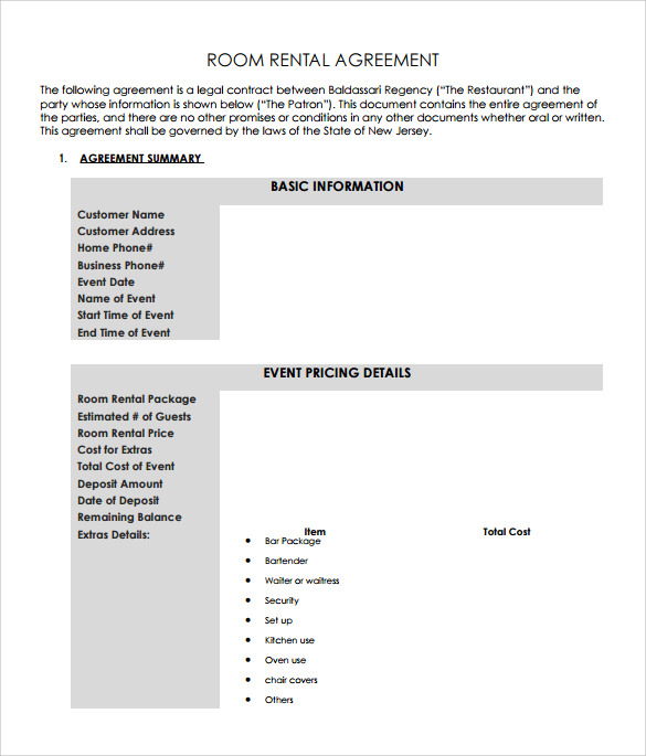 Free Downloadable Rental Agreement  BesikEightyCo