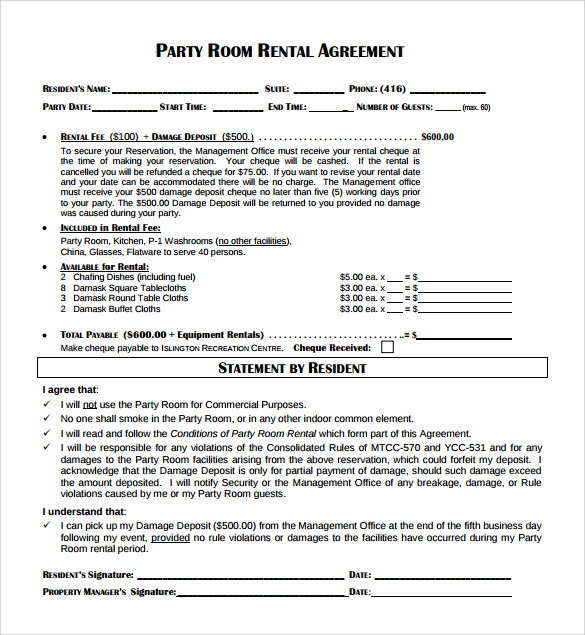 Sample Room Rental Agreement   Free Samples Examples  Formats