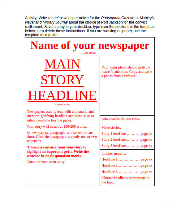 copy of gilley gazette newspaper template