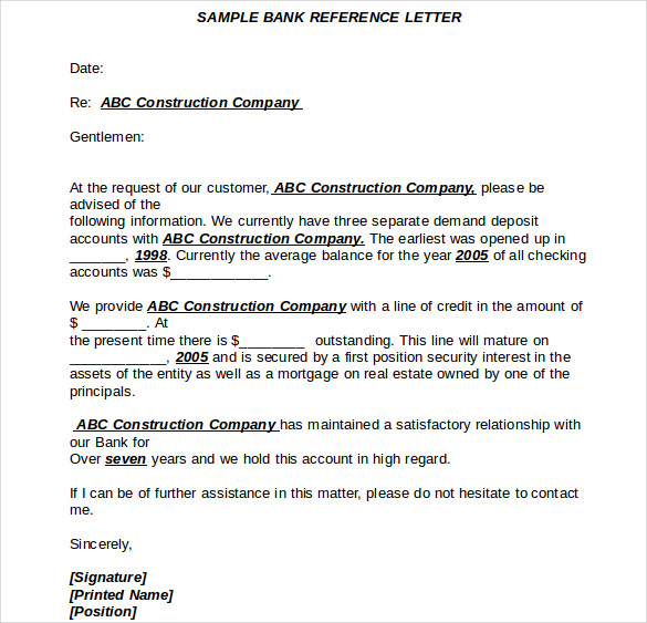 Doc16521620 Financial Reference Letter Template Sample Bank – Bank Reference Letter Template