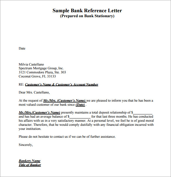 Bank Reference Letter U2013 8+ Free Download PDF, Word Documents