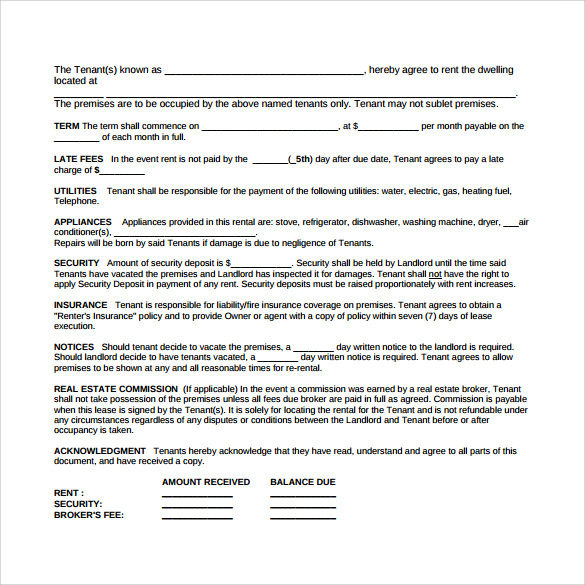 Sample Blank Lease Agreement 6 Example Format – Sample Blank Lease Agreement