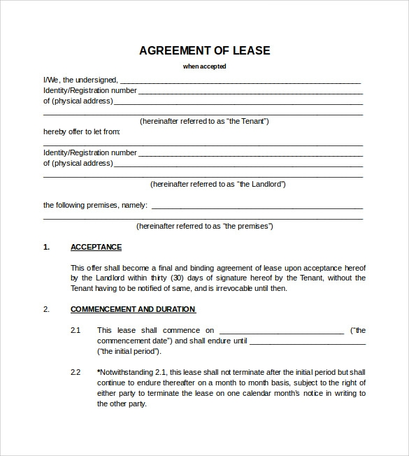 Sample Blank Lease Agreement   Example Format