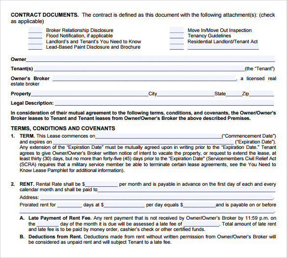 blank lease agreement to print