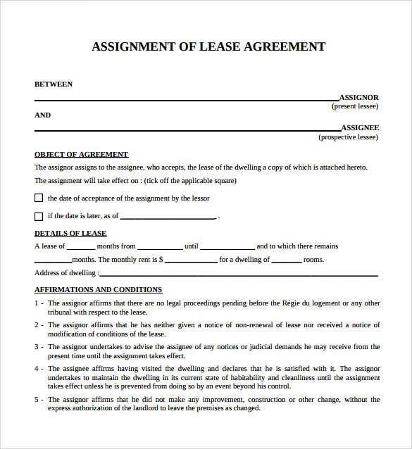 Sample Blank Lease Agreement – 6+ Example, Format
