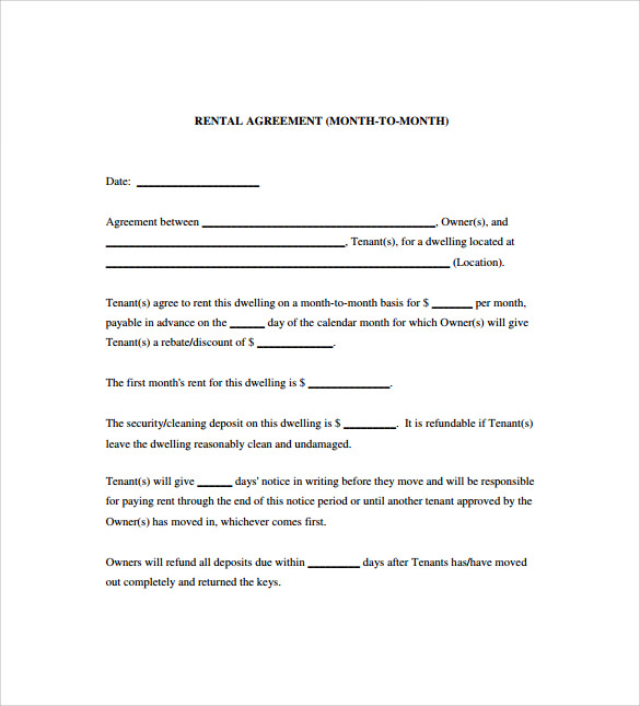 Doc592799 Sample Blank Rental Agreement Free Rental Forms To – Blank Rental Agreements
