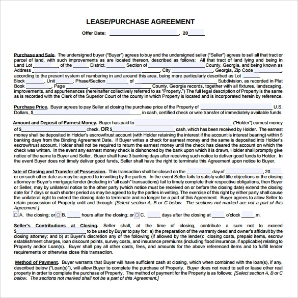 Charming Downloadable Lease Purchase Agreement