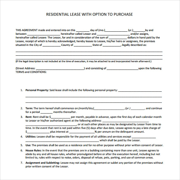 Sample Lease Purchase Agreement   Free Documents Download In Word