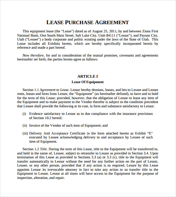 Sample Lease Purchase Agreement – 9+ Free Documents Download In