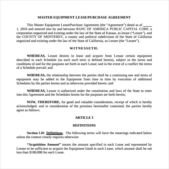 Sample Lease Purchase Agreement 9 Free Documents Download in – Purchase Agreements