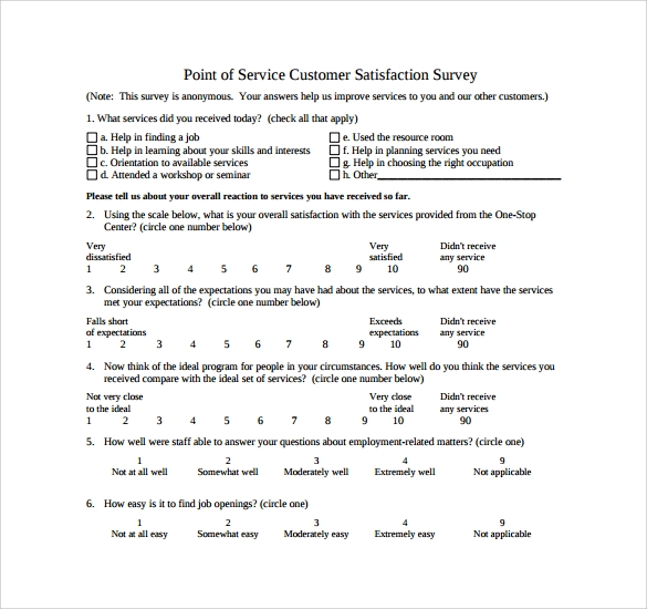 point of service customer satisfaction survey