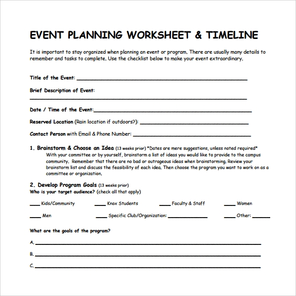 event timeline template to print