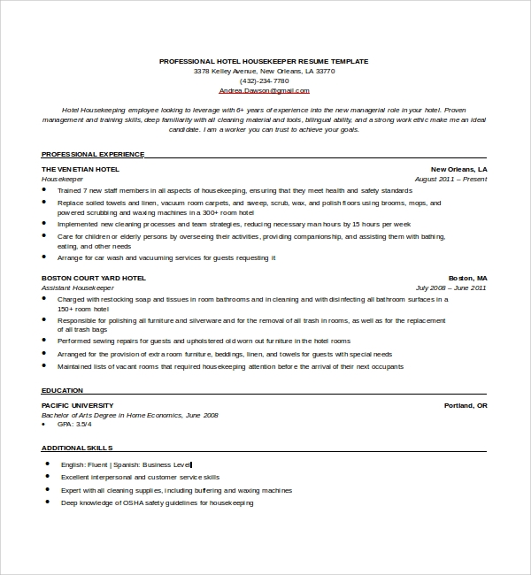 professional hotel housekeeping resume