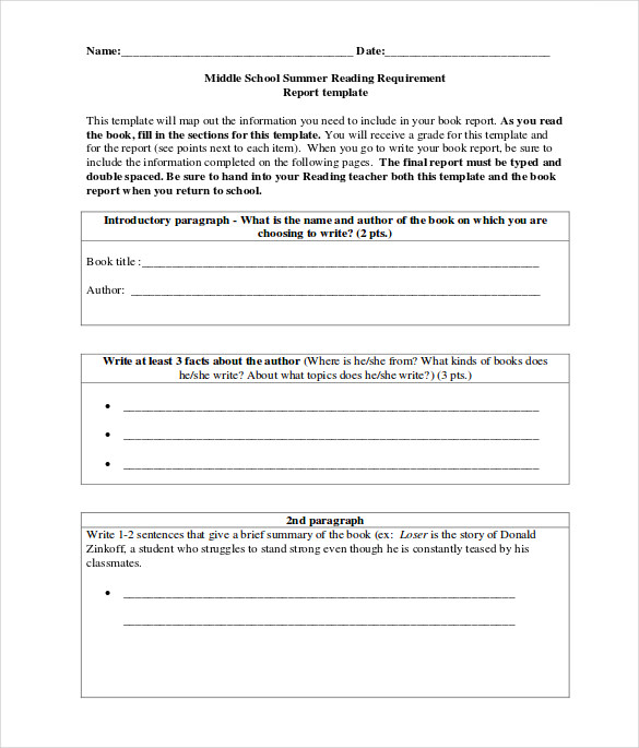 sample middle school book report template