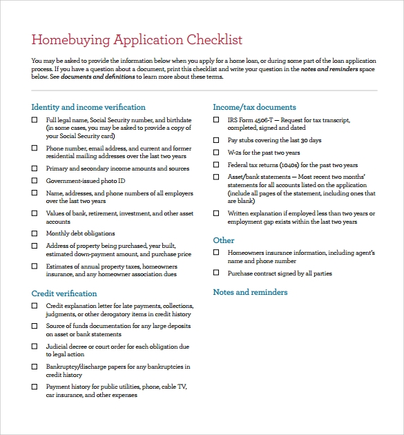 Home Buying Checklist   Documents In Pdf Word