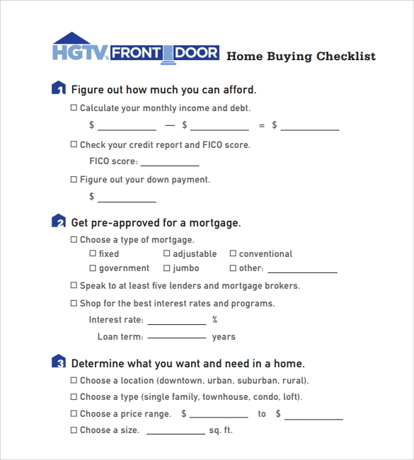 Home Buying Checklist 12 Free Samples Examples Format