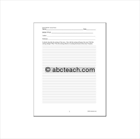 book report template free printable