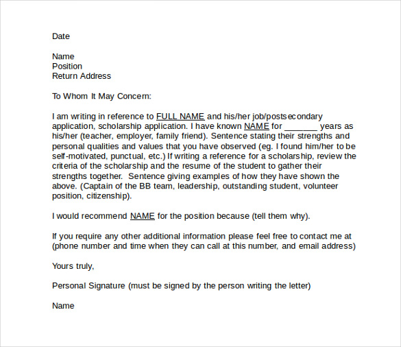 Doc24793508 Letter of Reference Job Recommendation Letter For – Letter of Reference Job