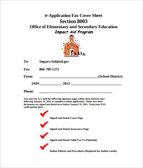 e application fax cover sheet