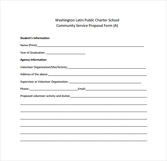 Community Service Proposal Form  Proposal Form Template