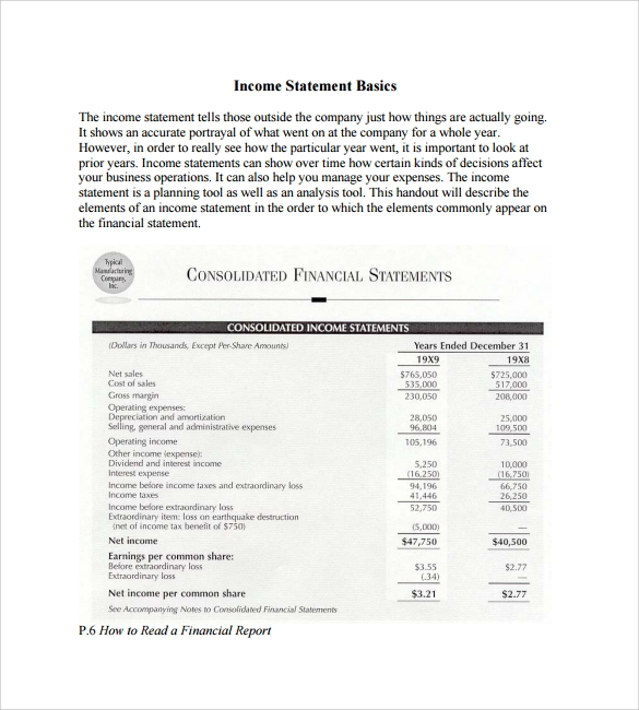 simple income statements