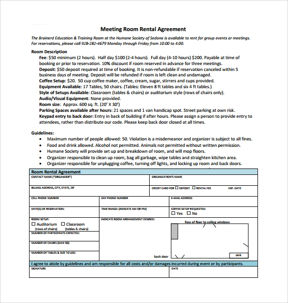sample room rental agreement  u2013 8  free samples  examples