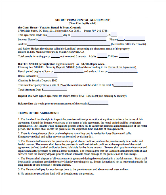 Sample Short Term Vacation Rental Agreement