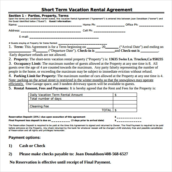8 Vacation Rental Agreements Free Sample Example Format – Sample Short Term Rental Agreement