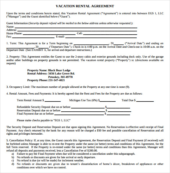 vacation rental agreement example1