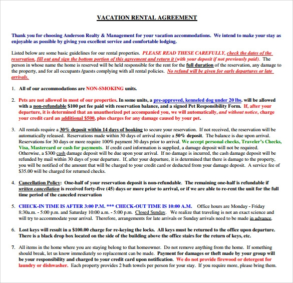 Vacation Rental Agreement Templates