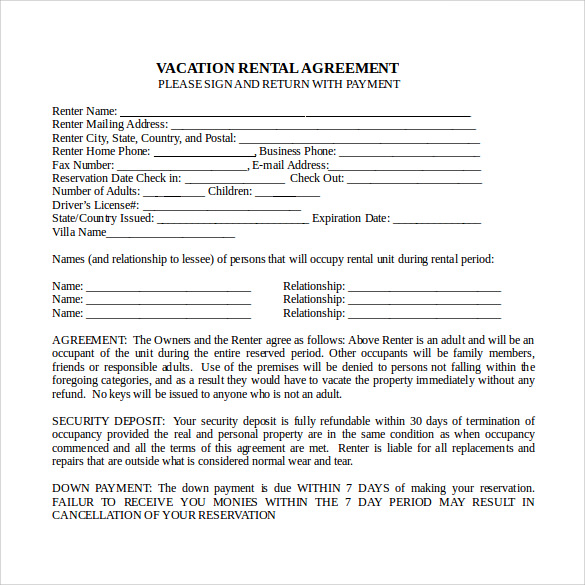 vacation rental agreement in word