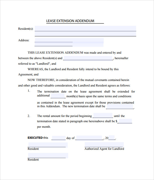Lease Extension Agreements  Free Sample Example Format