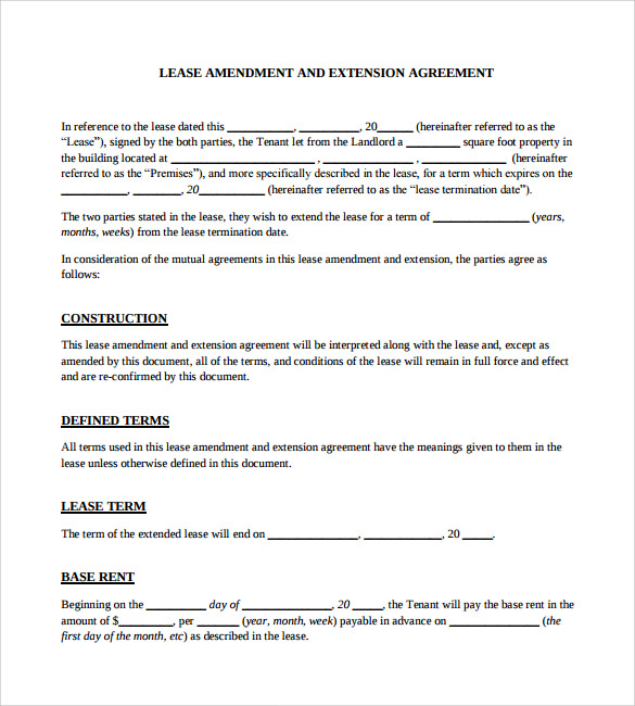 11 Lease Extension Agreements Free Sample Example Format – Lease Extension Agreement