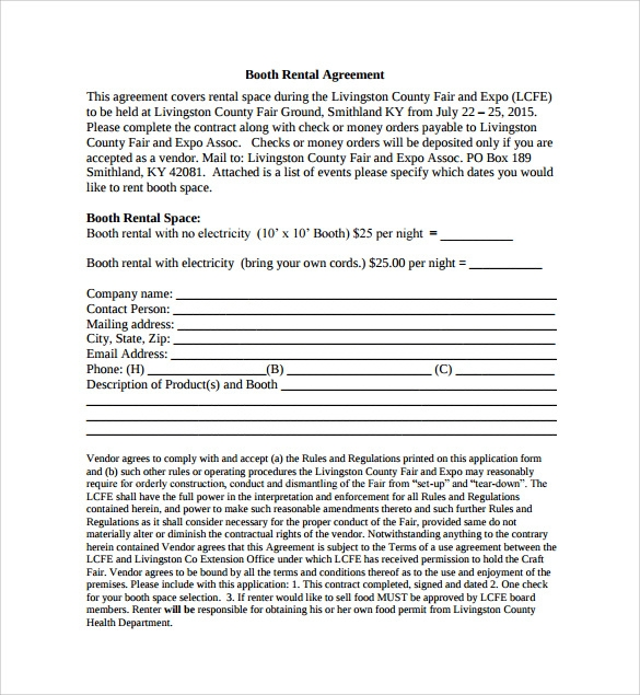 Booth Rental Agreement - 6+ Free Documents Download In Pdf, Word