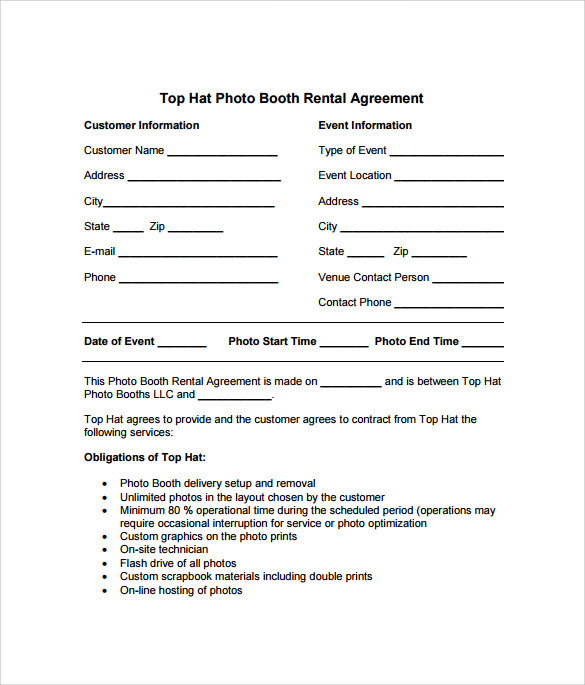 sample photo booth rental agreement