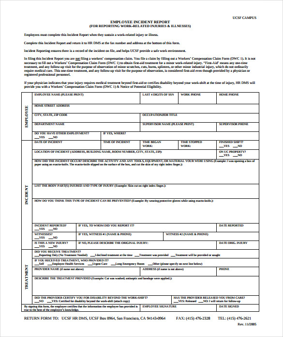 Sample Employee Incident Report Template   Free Documents