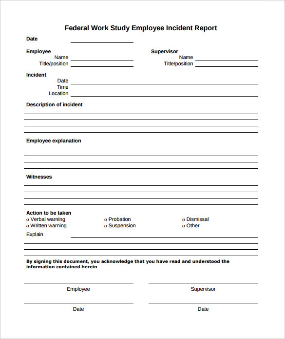 Sample Employee Incident Report Template - 10+ Free Documents