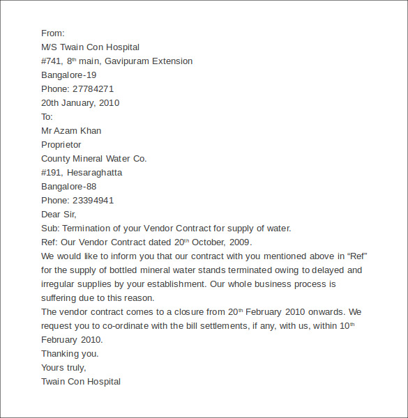 Service Contract Termination Letter Template – Contract Termination Letter