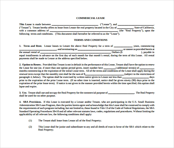 Sample Commercial Lease Agreement   Example Format