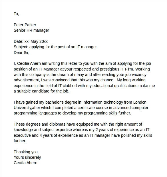 cover letter samples hr manager