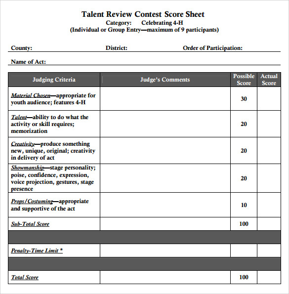 Talent Show Score Sheet | Sample Talent Show Score Sheet 9 Example Format