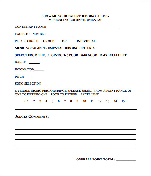 Sample Talent Show Score Sheet Prodrummer Web Page Eastwest Sounds
