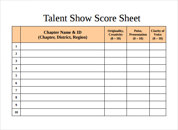 Sample Talent Show Score Sheet   Example Format